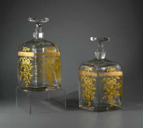 PAIR OF ANTIQUE 19TH CENTURY BOHEMIAN MOSER CRYSTAL GLASS DECANTERS