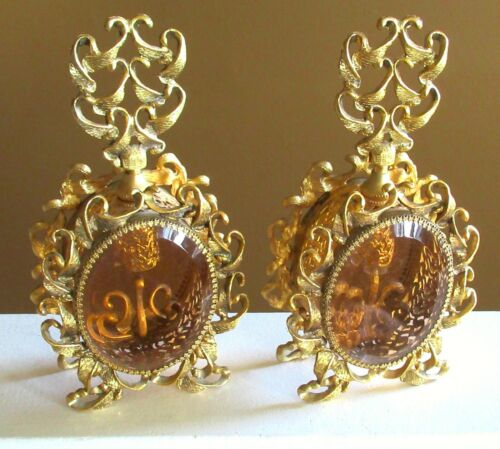 Antique Ormolu Perfume Bottle Beveled Amber Glass Filigree Scroll French Rococo