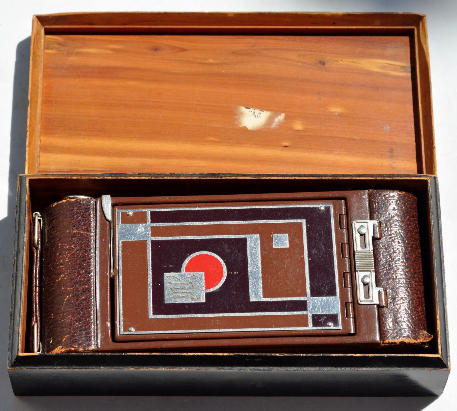 Kodak Vintage Art Deco Gift Folding Camera Model 1A With Wooden Box