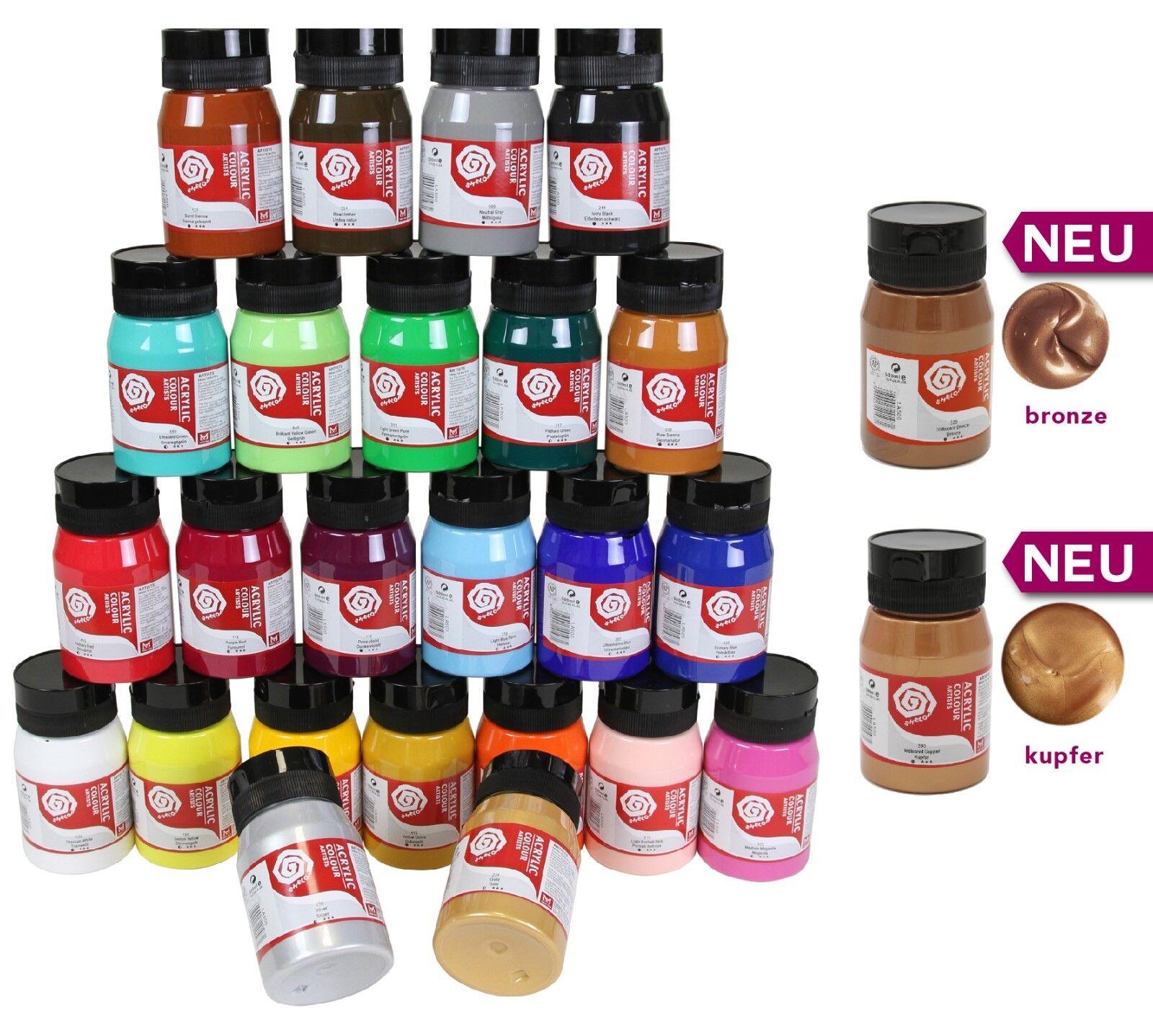 (15,9€/l) ARTIST Künstler-Acrylfarbe, 500 ml, 24 hochpigmentierte Farben, Malen