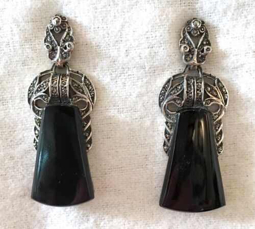 Vintage-Inspired Onyx Drop Earrings in Sterling Silver w Marcasite Accents 12.7g