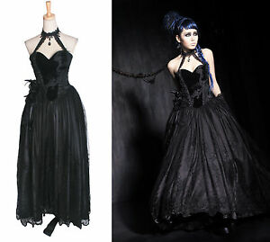 gothic punk rave halter neck dress long black corset dress