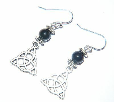 Attractive Black AGATE Gemstone & CELTIC KNOT Sterling Silver Earrings -