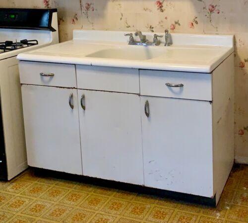 Vintage Cast Iron Farm Style Sink w/ Double Drainboards, Metal Base Cab Optional