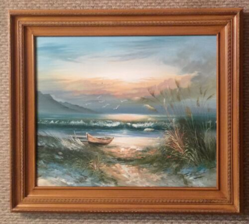 Beautiful Original Vintage Nautical/Beach Signed Framed Oil Painting 30x26  - $149.99