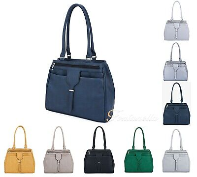 New Women 2 Compartments Tote Hobo Shopper Bag Large Handle Shoulder Handbag