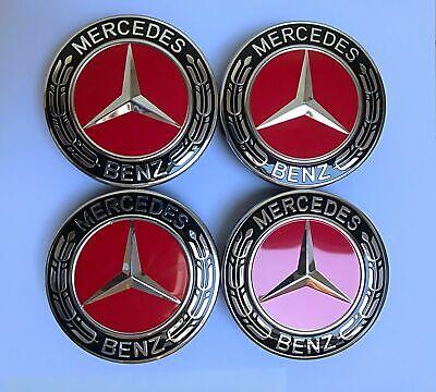 4pcs (4x) Mercedes Benz Leichtmetall Radkappen 75mm Kennzeichen Rot Hub Emblem