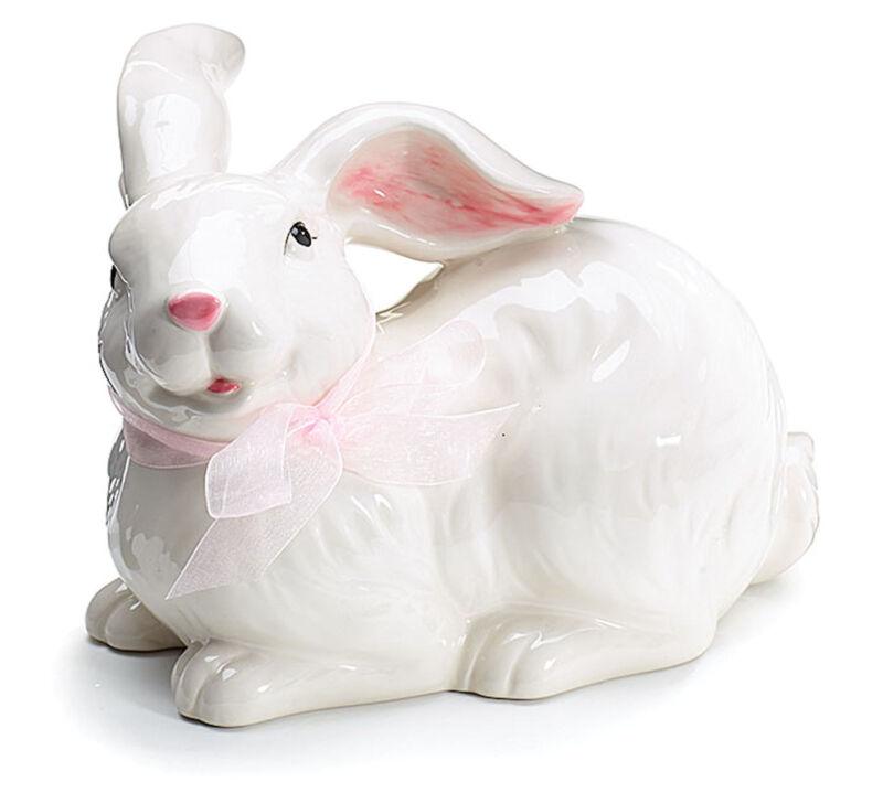 New White Rabbit Ceramic Bunny Figurine Statue 7.5 Inches burton+BURTON