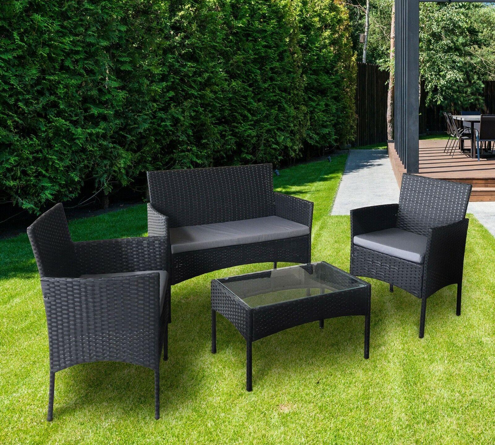 Garden Furniture - 4pcs Rattan Outdoor Garden Furniture Sofa Set Table & Chairs (Roger Black )