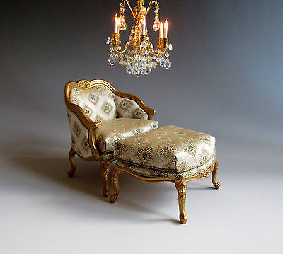 1:12th ~ BESPAQ ~ GILDED ~ FRENCH LOUIS XV ~ DUCHESSE BRISEE SET for Dolls House