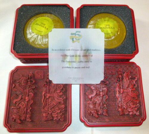 2 Vintage Hong Kong Peninsula Faux Cinnabar Soap Boxes Complete w Door Guards