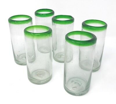 Orion Mexican Glassware Green Rim 10 oz Hi Ball - Set of 6 (Hi Ball Glassware)