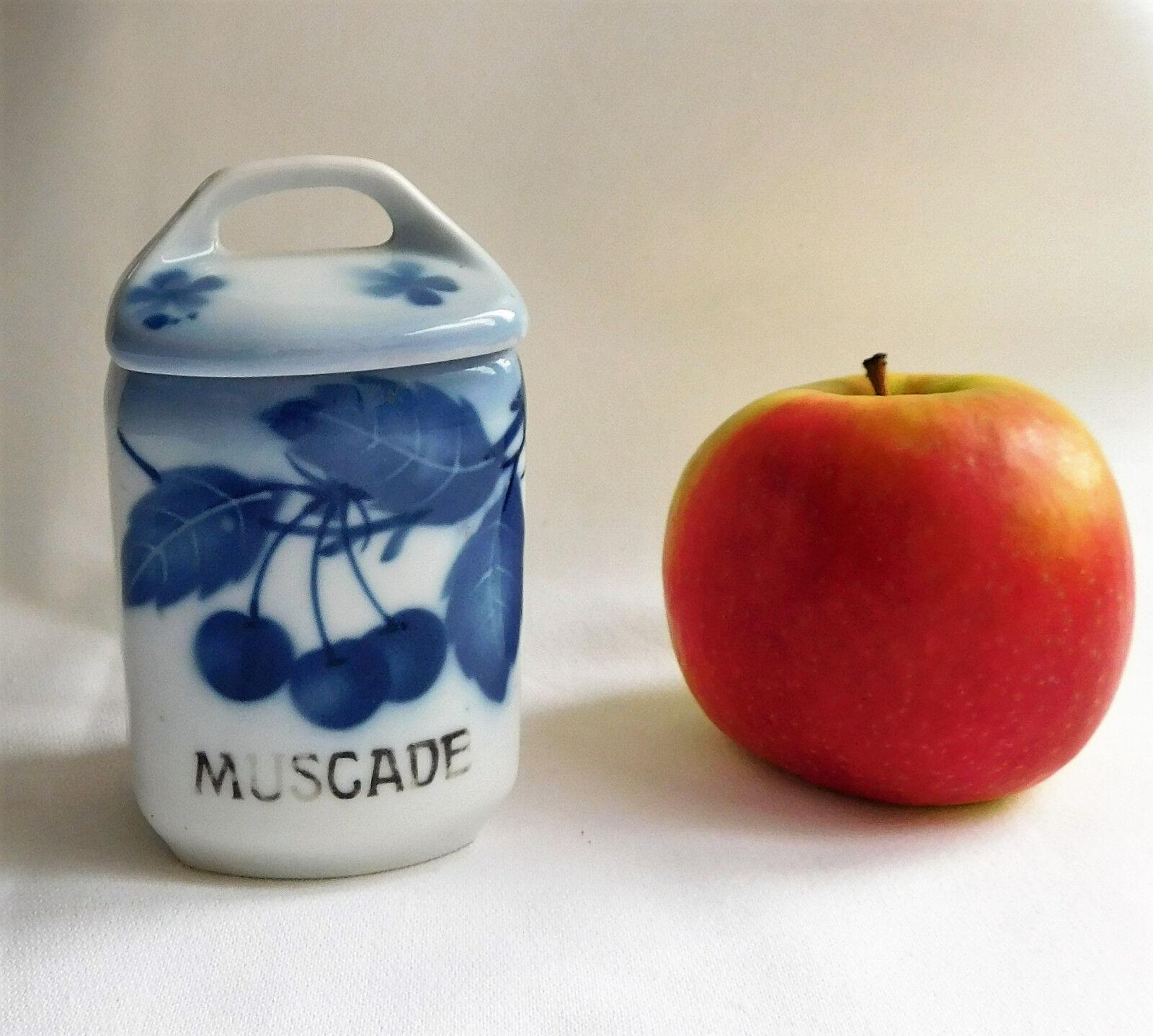 Spice jar Krautz-Berger Teplitz Art Deco Czech porcelain Nutmeg cherry Muscade