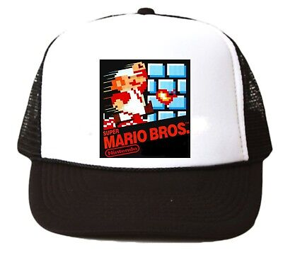 Vintage Super Mario Bros. Trucker Hat mesh hat video game hat black Nintendo new - Super Mario Bros Hats