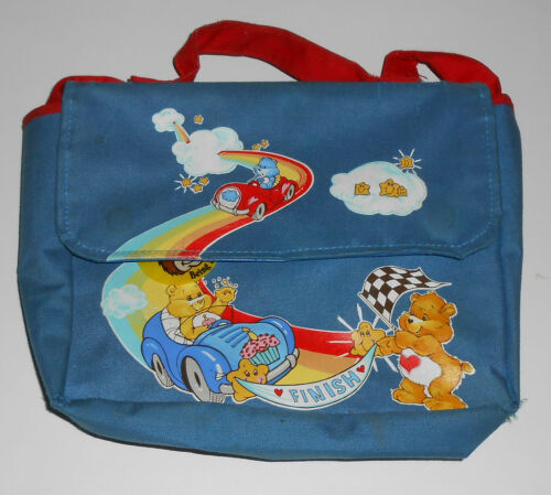 Vintage 1980s CARE BEARS American Greetings Hand Bag Pouch Kids Cars Blue Red