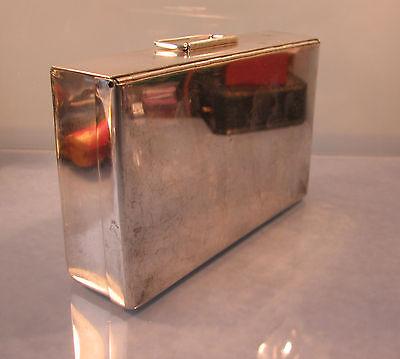 Art deco period Silver plated sandwich box with gold gilt interior circa 1930