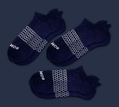 3-Pack Bombas Men's Ankle Socks Navy Blue Honeycomb Large 7-12 NWT