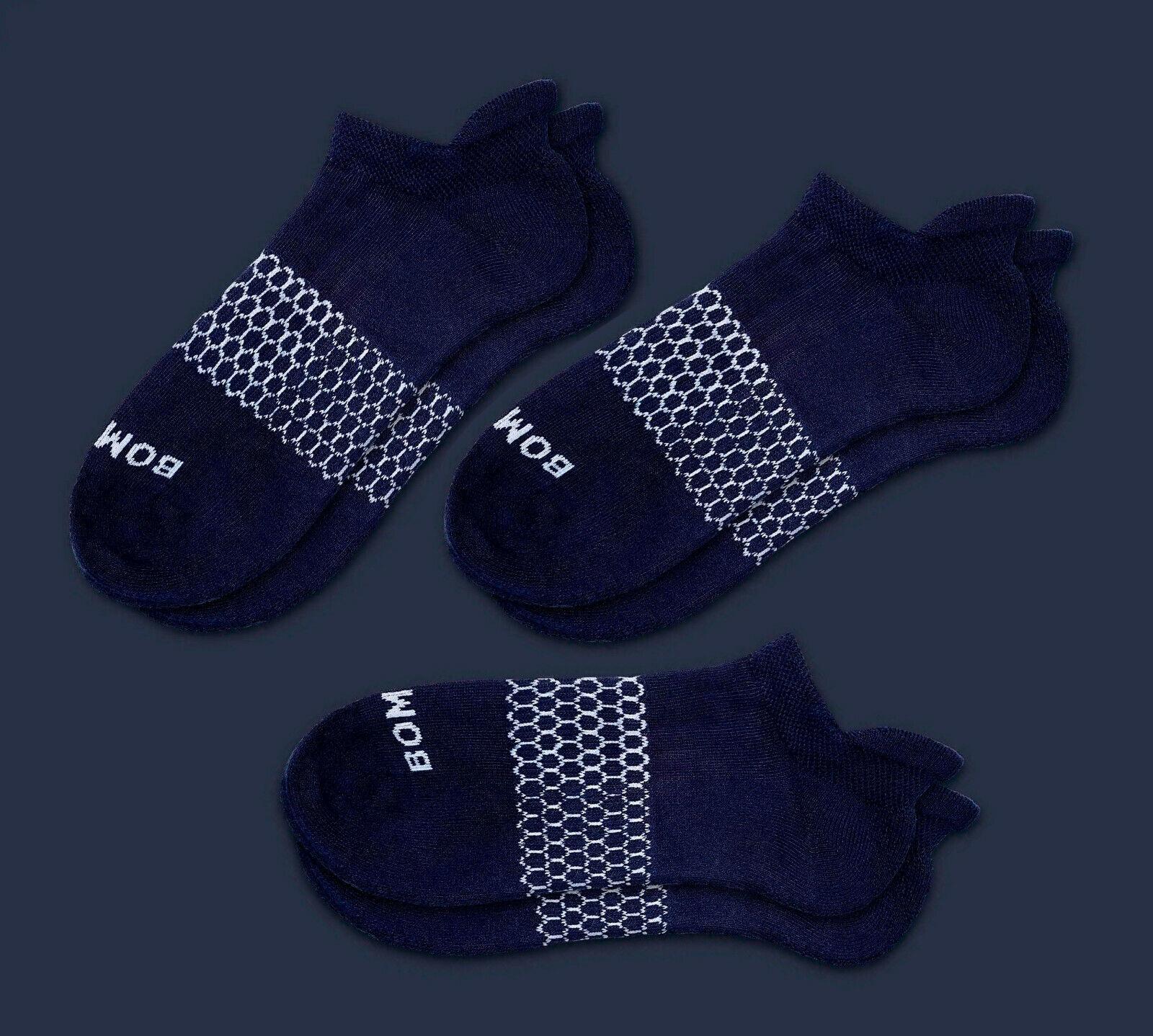 3-Pack Bombas Men's Ankle Socks Navy Blue Honeycomb Large 8-