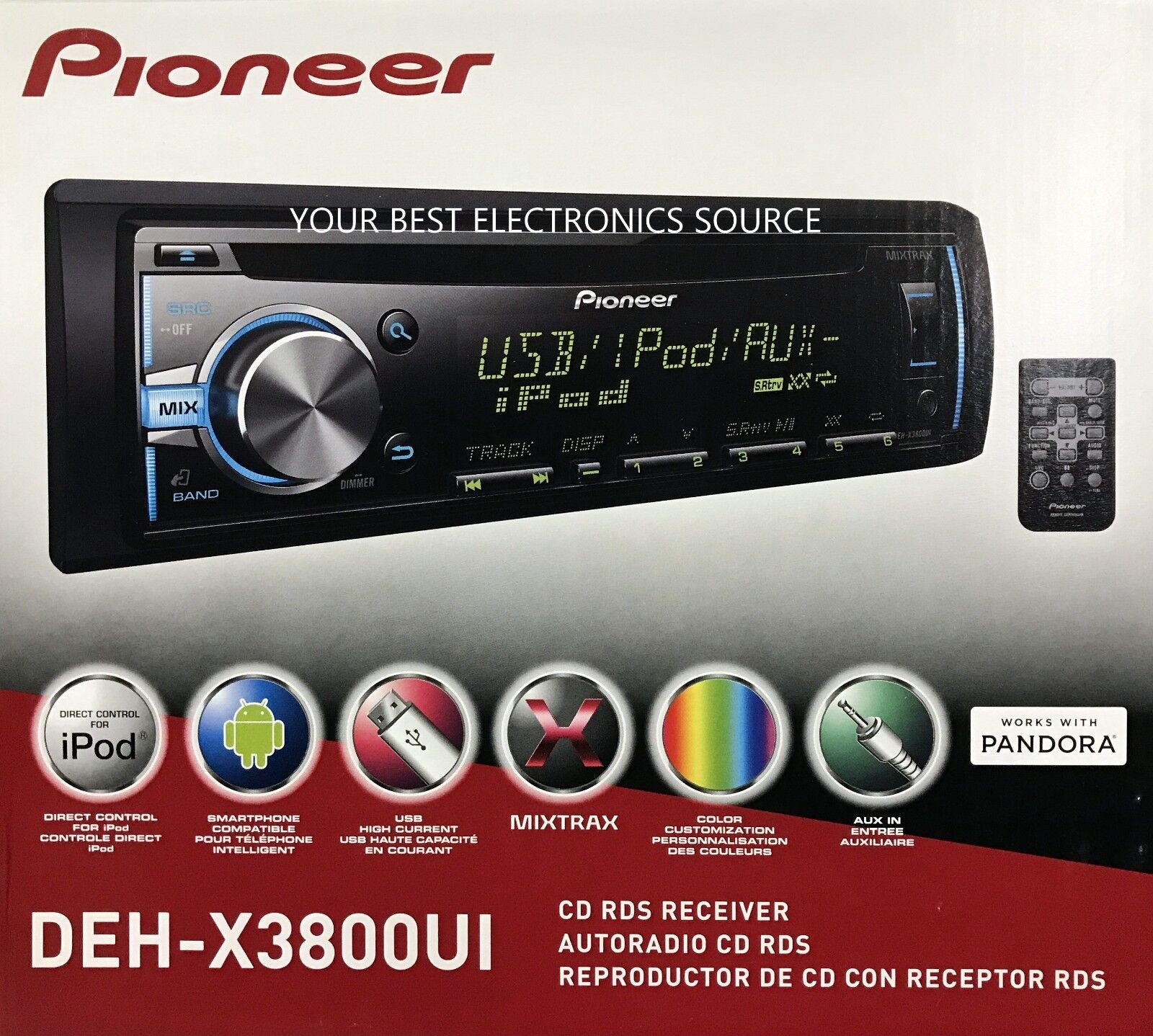 NEW Pioneer DEH-X3800UI CD/AM/FM Car Stereo w/ Android/iPod/iPhone Control, USB