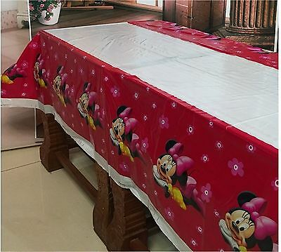 180x108cm Disposable PVC Table Cover Tablecloth Kids Party Minnie Mouse