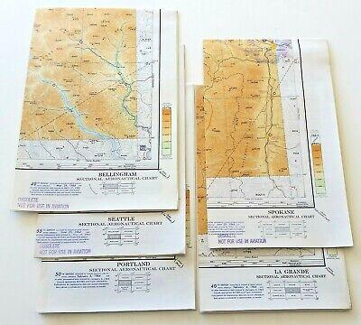 (5) Sectional Aeronautical Charts 1964 - Seattle Portland Spokane Bellingham +++