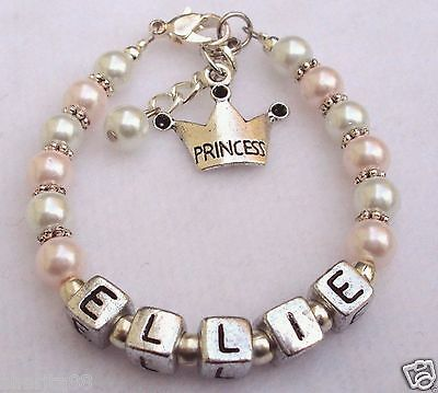 Girls Personalized (Girls Baby Child Name Personalized Princess Charm Pearl bracelet (Made to)