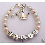 Girls Baby Child Name Personalized Princess Charm Pearl bracelet (Made to Order)