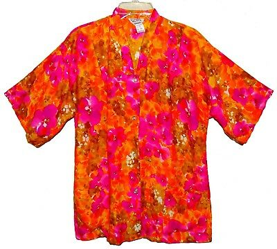 Sz 16 Vin Sun Fashions 1960's Woman's Hawaiian Tea Timer Shirt Hot Pink Floral