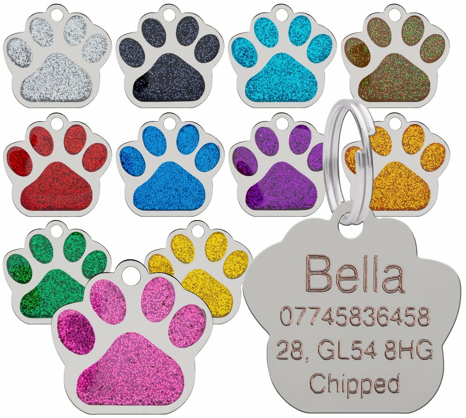 Dog Cat Pet Tag ID Collar Tags Personalised Engraved 27mm Glitter Paw Print