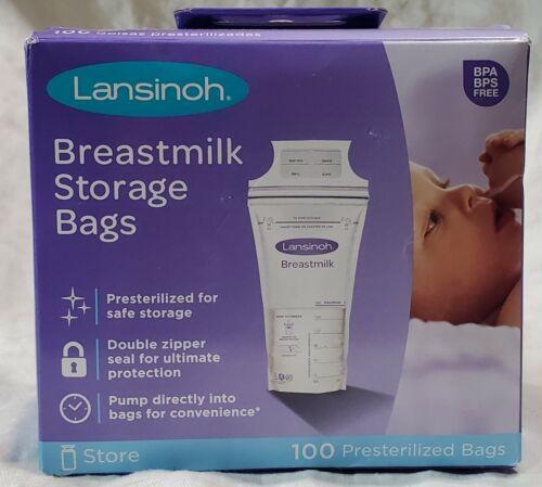 Lansinoh Breastmilk Storage Presterilized 100 Bags Double Zipper Seal