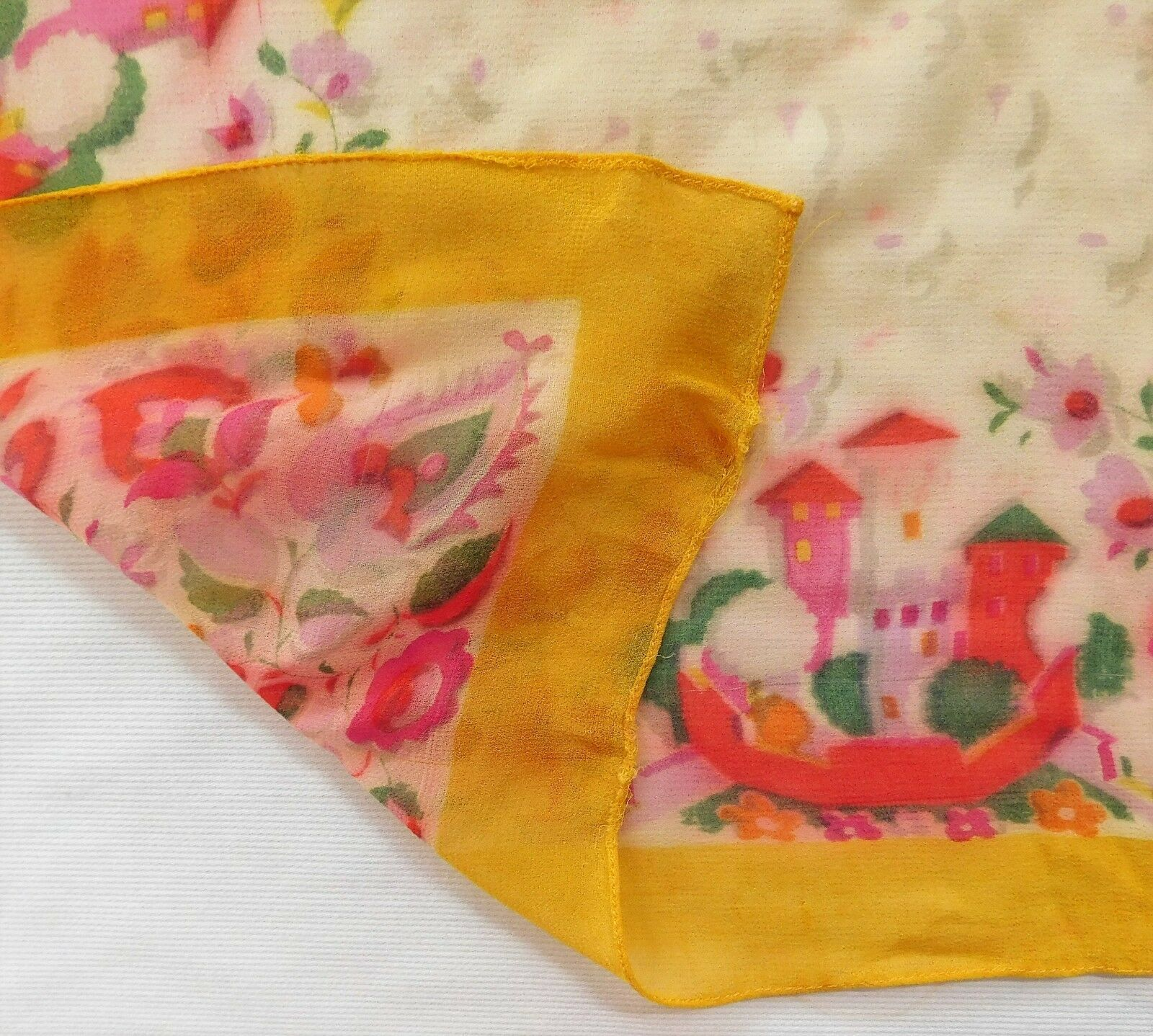 "Ladies vintage crepe scarf with floral design and castles 25"" square id"