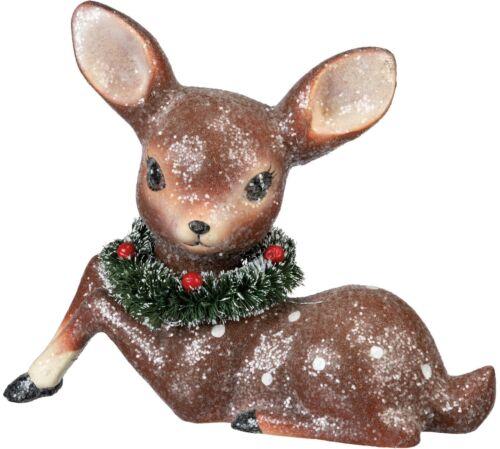 "Sitting Deer with Christmas Wreath Vintage Design 8"" New"