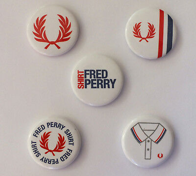 FRED PERRY 5 Pins Buttons Badges - selten - Sammler RAR Collectors