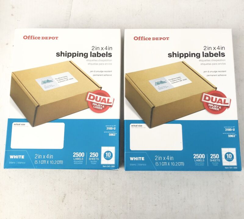 """Lot of 2 - Office Depot Laser Shipping Labels, 2"""" x 4"""", White, 2500 Labels"""