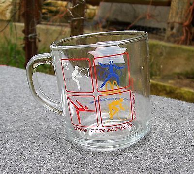 1984 McDonalds LA Olympics Glass Mug -Equestrian, Fencing, Cycling, Gymnastics