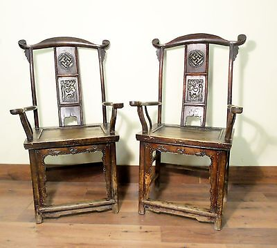 Antique Chinese High Back Arm Chairs (5516) (Pair), Circa 1800-1849