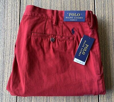 Polo Ralph Lauren Men's Classic Fit Red Chino Pants Sz 40x30 NWT