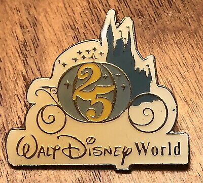 Vintage Walt Disney World 25th Anniversary 1971-1996 Lapel Hat Pin Pinback