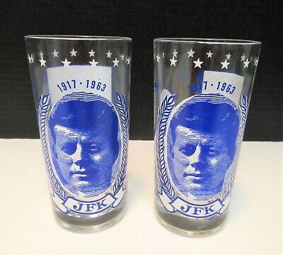 JOHN F KENNEDY SET OF 2 DRINKING GLASSES GREAT DESIGNS IN VERY GOOD CONDITION