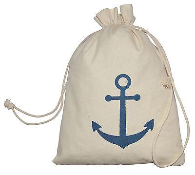 100% Baumwolle Cotton Säckchen Geschenktasche Beutel Anker Maritim Stoffsäckchen ()