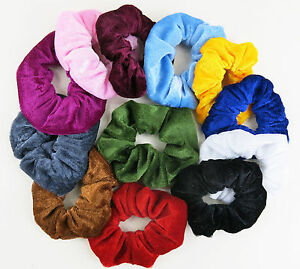 12 Velvet Hair Bands Scrunchie Ponytail Holder Soft Velveteen Free Post