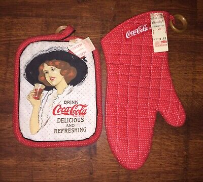 Vintage Coca-Cola Kitchen Linens Potholder And Oven Mitt New W/Tags