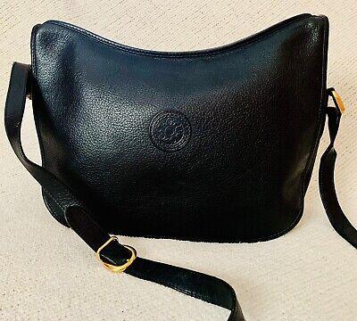Vintage GUCCI w/ logo Shoulder Bag Cross Body Purse Pebble Grain Leather Black