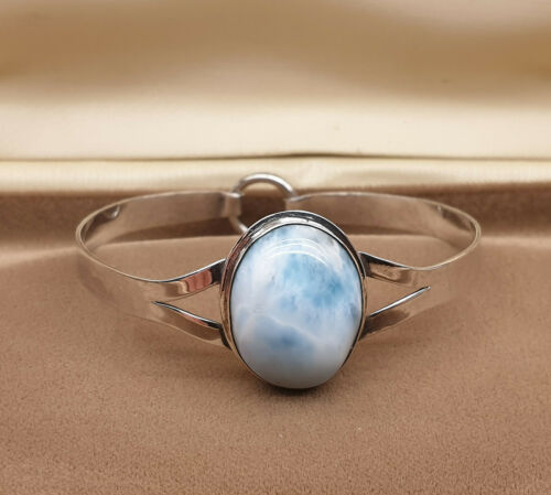 Vintage Chunky 925 Solid Sterling Silver and Blue Cloud Agate Cabochon Bracelet