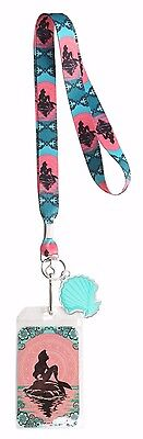 Disney Little Mermaid Ariel Mandala Art Lanyard ID Holder & Charm Loungefly New