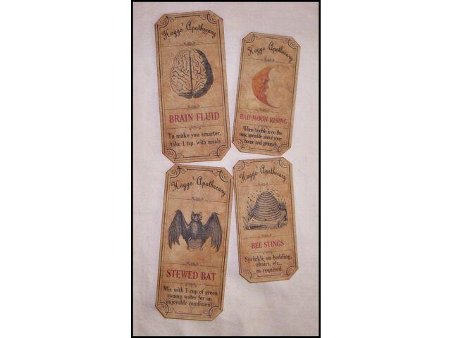SET of 12 VINTAGE LOOK APOTHECARY Potion Ingredient LABELS Halloween/Primitive
