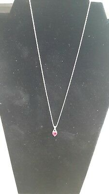 Women's 925 Sterling Silver lab created ruby heart necklace 1 1/2 ct tgw (Lab Created Ruby Heart)