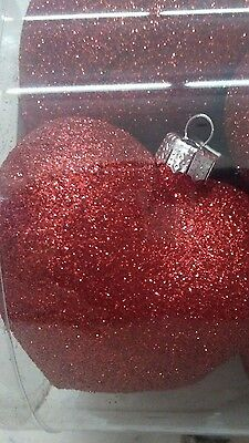"NEW Set of 8 Red Glitter Hearts Ornaments 2.5"" Decor Valentines Wedding tree"