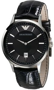 Emporio Armani AR2411 Classic Men's Black Leather Dress Watch - New in Box