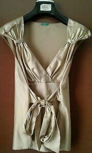 top-benetton-elegante-tg-L-034-48-50-034-beige-oro-lucido-raso-sotto-giacca